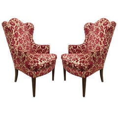 Pair of Hepplewhite Style Wingback Chairs