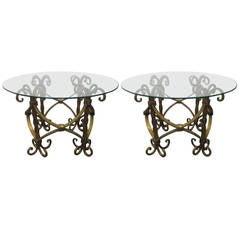 Pair of Italian Wrought Iron Gilt Tables