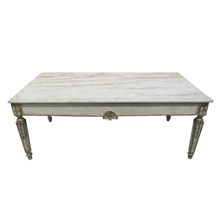 French Gold Coffee Table: French Marble-Top Coffee Table In Louis XIV Style For Sale