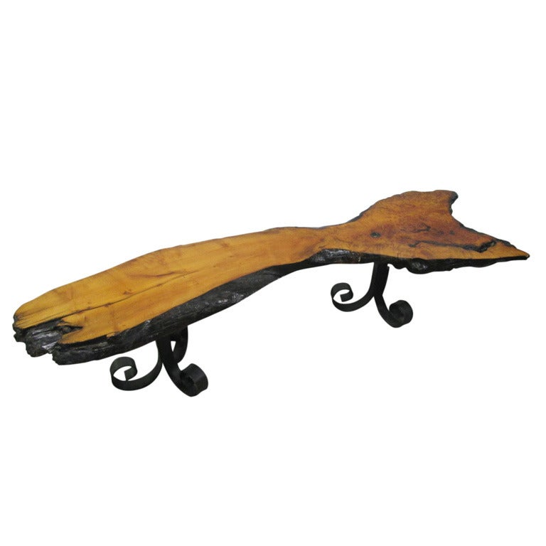 French Wood Slab Coffee Table At 1stdibs: Free Edge Slab Wood Coffee Table Wrought Legs At 1stdibs