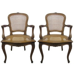 Pair French Caned Chairs