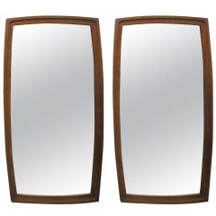 Pair of Mid-Century Modern Walnut Mirrors