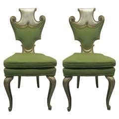 Paar Dekorative Blattsilber Stühle, Grosfeld House Zugeschrieben