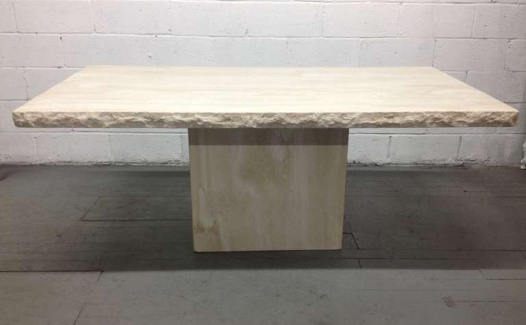 Large italian travertine table for sale at 1stdibs for Tejas dining room at t conference center