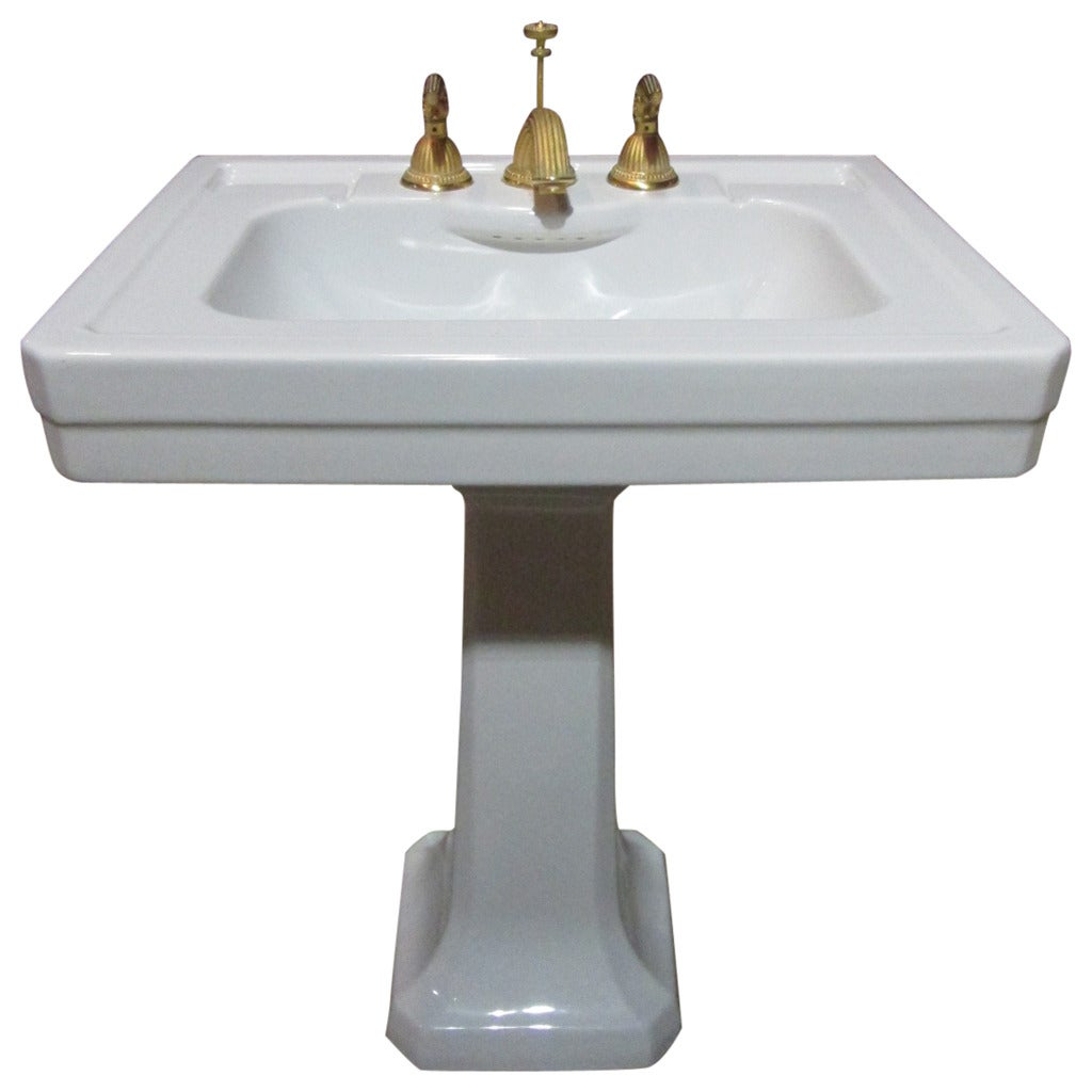 Bathroom Fixtures Gold italian pedestal porcelain sink with gold fixtures for sale at 1stdibs