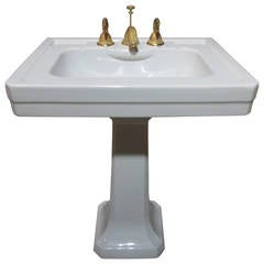 Italian Pedestal Porcelain Sink with Gold Fixtures