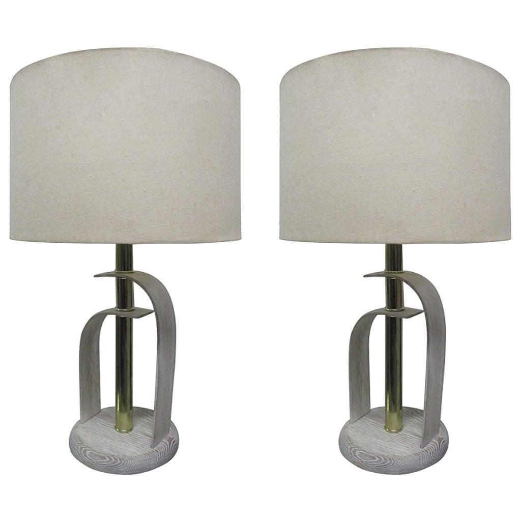 Pair of Bentwood Cerused Oak Lamps