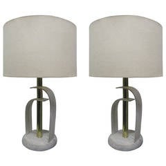 Pair of Bentwood Cerused Oak Lamps