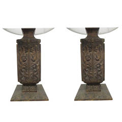 Pair of Bronze Asian Lamps