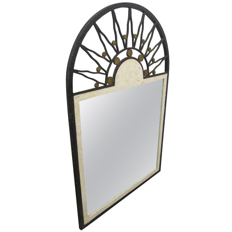 Maitland smith wrought iron and tessellated stone mirror for Wrought iron mirror