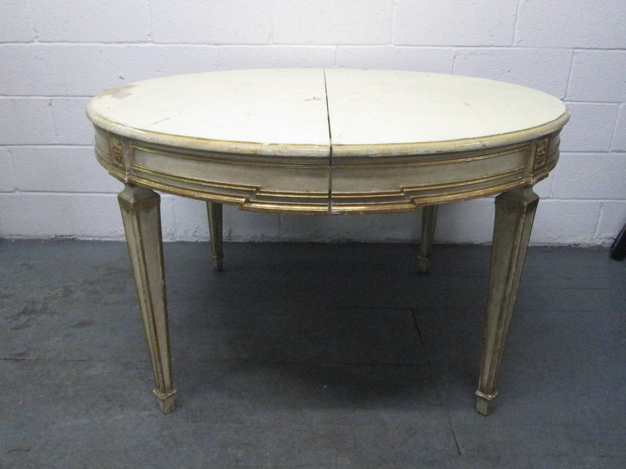 Swedish gustavian style painted and gilt dining table for for Painted dining table