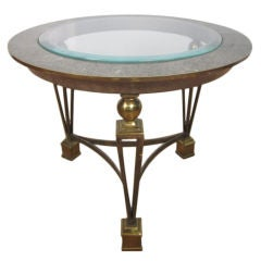 Brass and Tesselated Stone Side Table Manner of Gilbert Poillerat