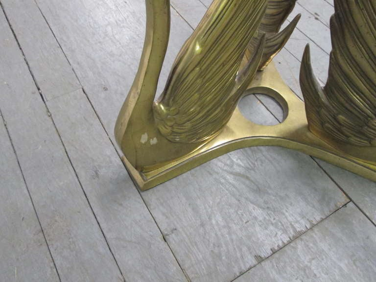 Brass Swan Glass Top Coffee Table 6