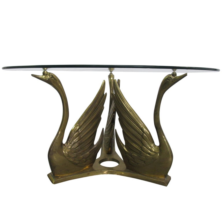 Brass Swan Glass Top Coffee Table 1