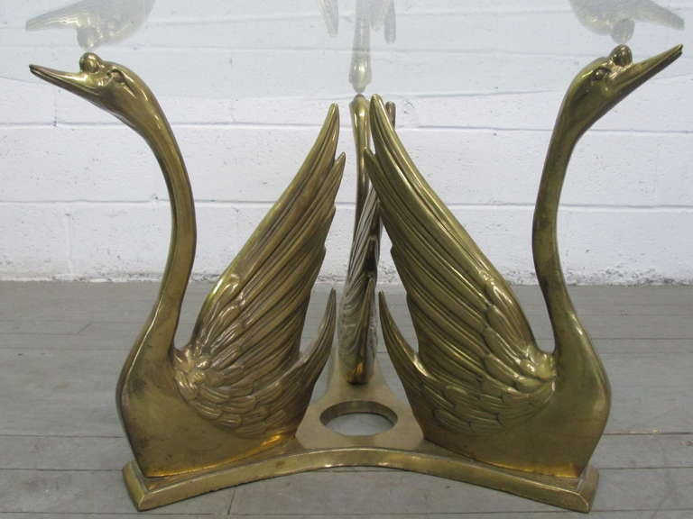Brass Swan Glass Top Coffee Table 4