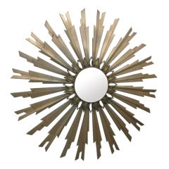 Midcentury Gold Sunburst Mirror
