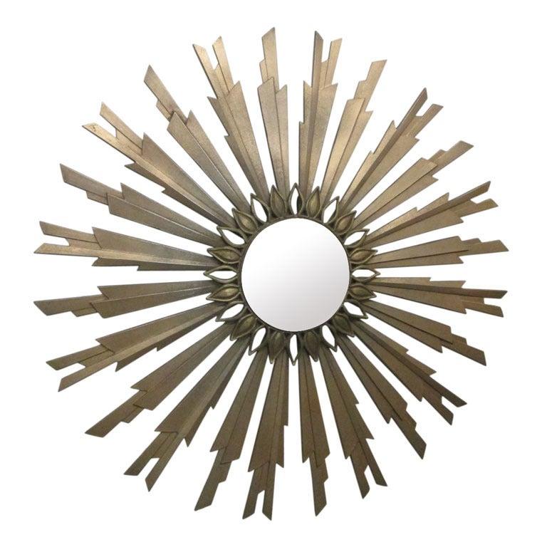 Midcentury Gold Sunburst Mirror