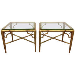 Pair of Gold Gilt Faux Bamboo Tables