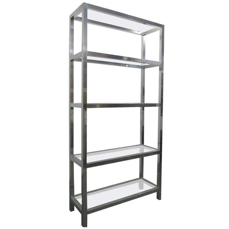 aluminum etagere w glass shelves at 1stdibs. Black Bedroom Furniture Sets. Home Design Ideas