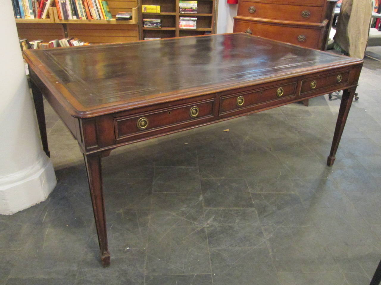 19th century carved mahogany partners desk with a Regency style. Has a  black, tooled - 19th Century English Mahogany Leather-Top Partners Desk At 1stdibs