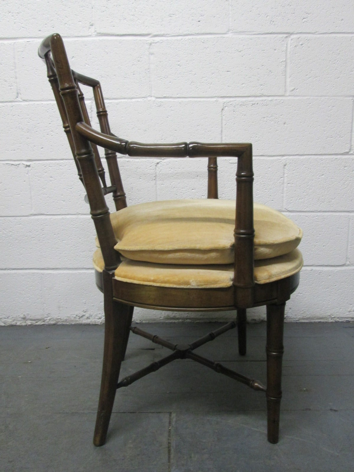 Chippendale Four Faux Bamboo Armchairs For Sale