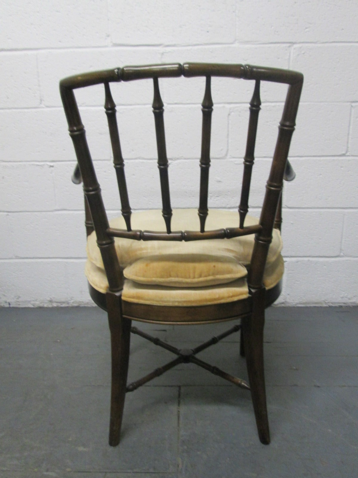 Four Faux Bamboo Armchairs In Good Condition For Sale In New York, NY