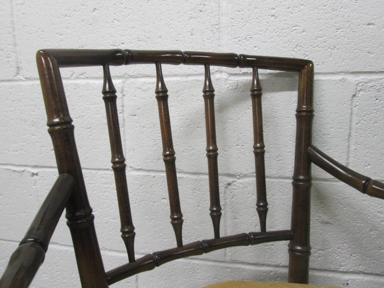 Mid-20th Century Four Faux Bamboo Armchairs For Sale