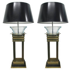 Pair Of Neoclical Style Bronze And Gl Column Lamps