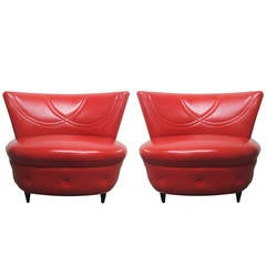 Pair of Leather Lounge Chairs Style of Gilbert Rohde