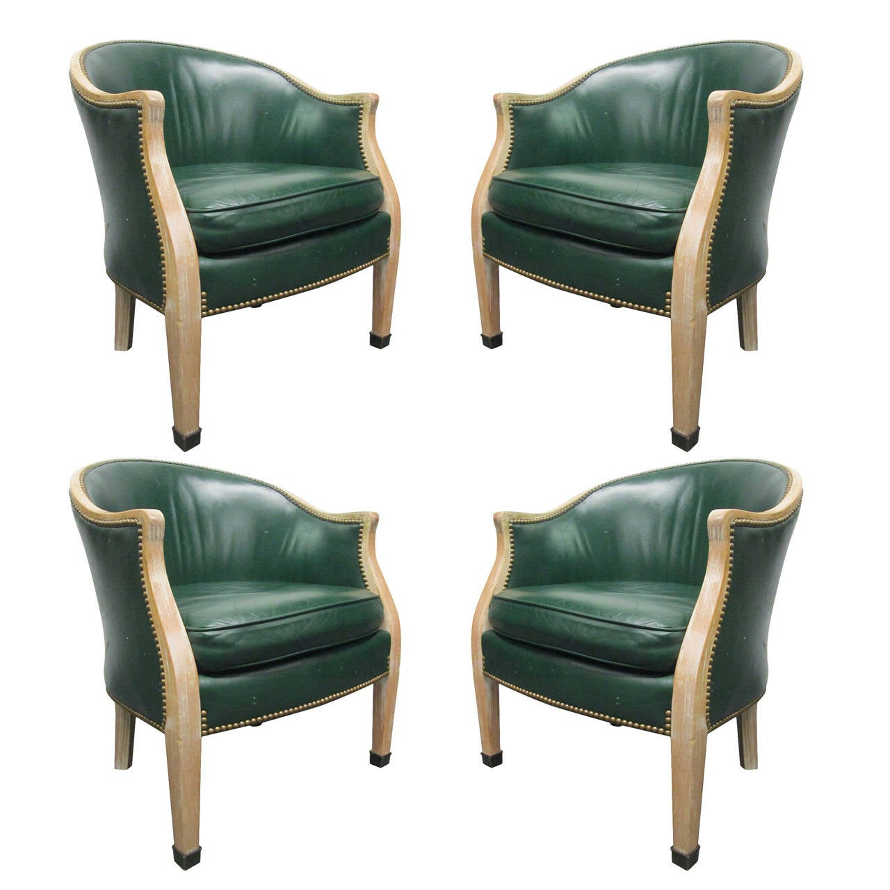Set Of Four Regency Style Leather Club Chairs For Sale At