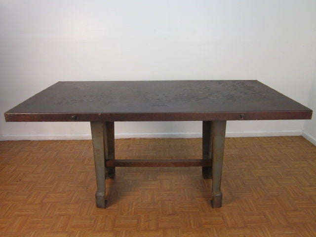 Large Antique French Industrial Steel Table In Good Condition For Sale In New York, NY