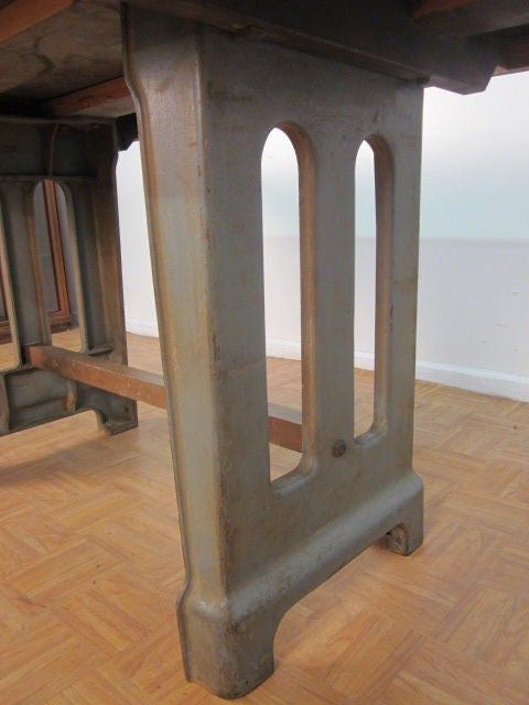 Large Antique French Industrial Steel Table For Sale 1