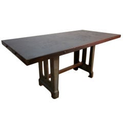 Large Antique French Industrial Steel Table