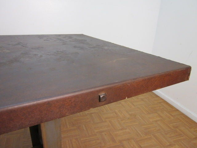 Large Antique French Industrial Steel Table For Sale 5