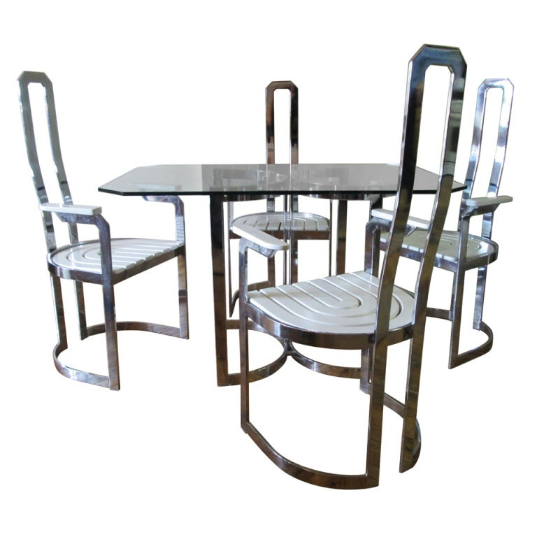 Italian chrome table and 4 chairs dining set at 1stdibs for Four chair dining table set