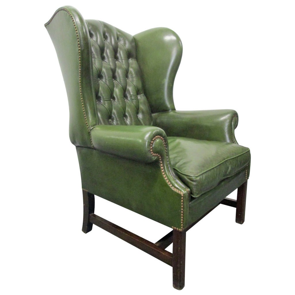 Green leather tufted wing back chair at 1stdibs for Wingback chair