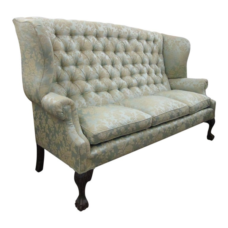 High Back White Leather Sofa: Chippendale Style Tufted High Back Sofa At 1stdibs