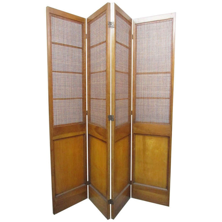 4 panel cane and wood screen room divider at 1stdibs for Four panel room divider screen