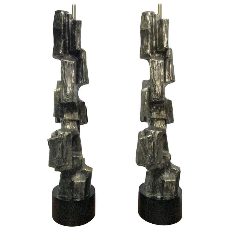 Pair of Tall Brutalist Table Lamps by Laurel Lamp Company For Sale