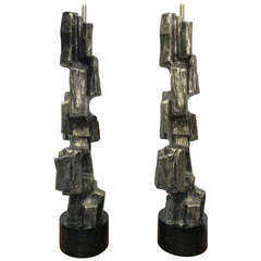 Pair of Tall Brutalist Table Lamps by Laurel Lamp Company