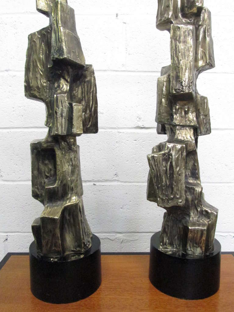 Late 20th Century Pair of Tall Brutalist Table Lamps by Laurel Lamp Company For Sale