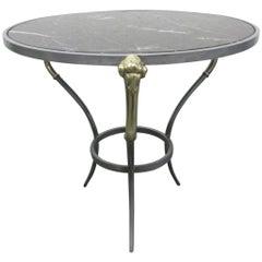 Brass Ram's Head Maison Jansen Style Side Gueridon Table