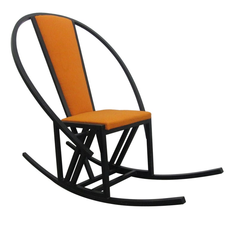 Unique Japanese Rocking Chair With A Black Lacquered Oak Frame 1