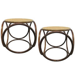Pair Bentwood Stools by Thonet