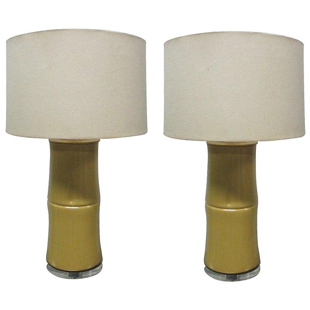 Pair of Faux Bamboo Ceramic Lamps