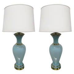 Pair of Decorative Teal Opaline Lamps