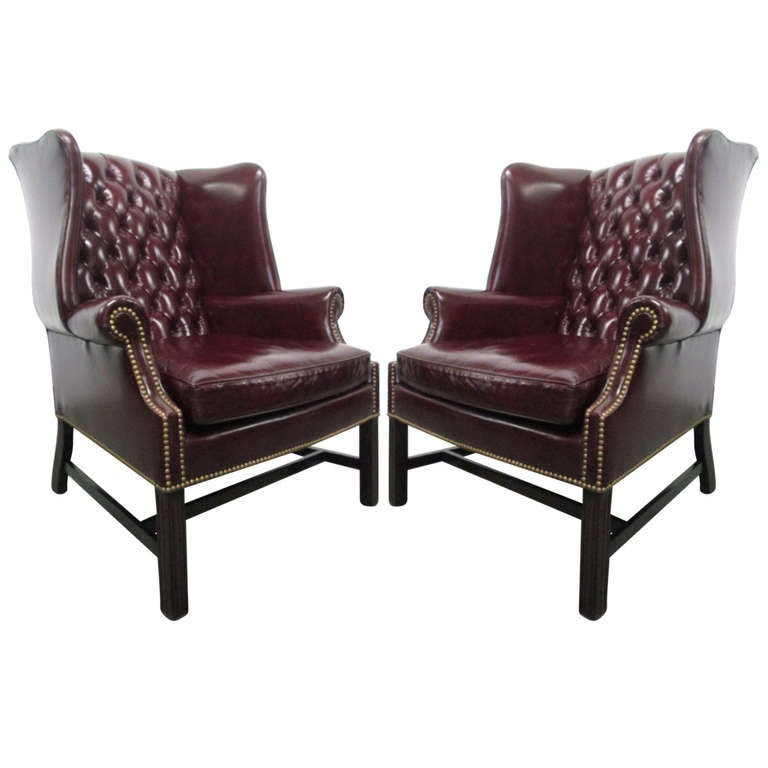 Gentil Pair Of Vintage Leather Tufted Wingback Chairs For Sale
