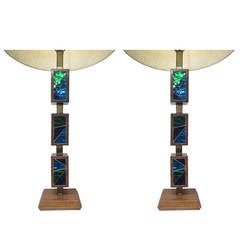 Pair of Italian Walnut and Tile Lamps