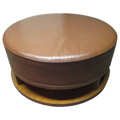 Large Art Deco Leather Walnut Ottoman