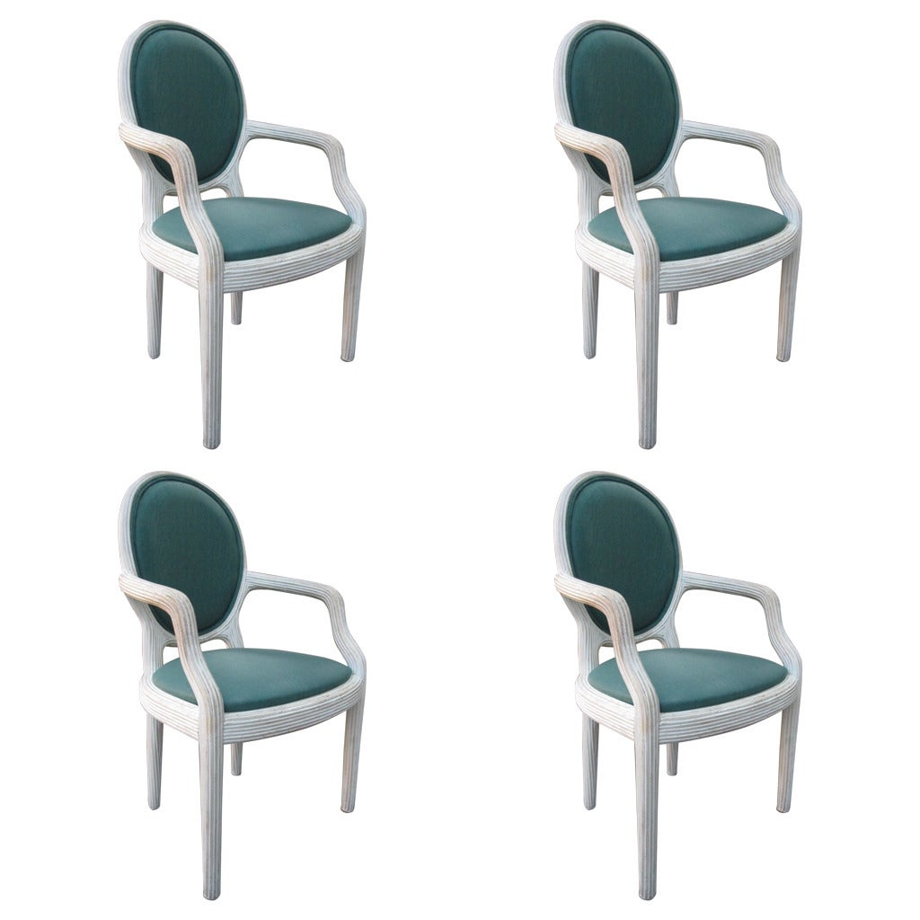 Four Bamboo Lime Finish Armchairs